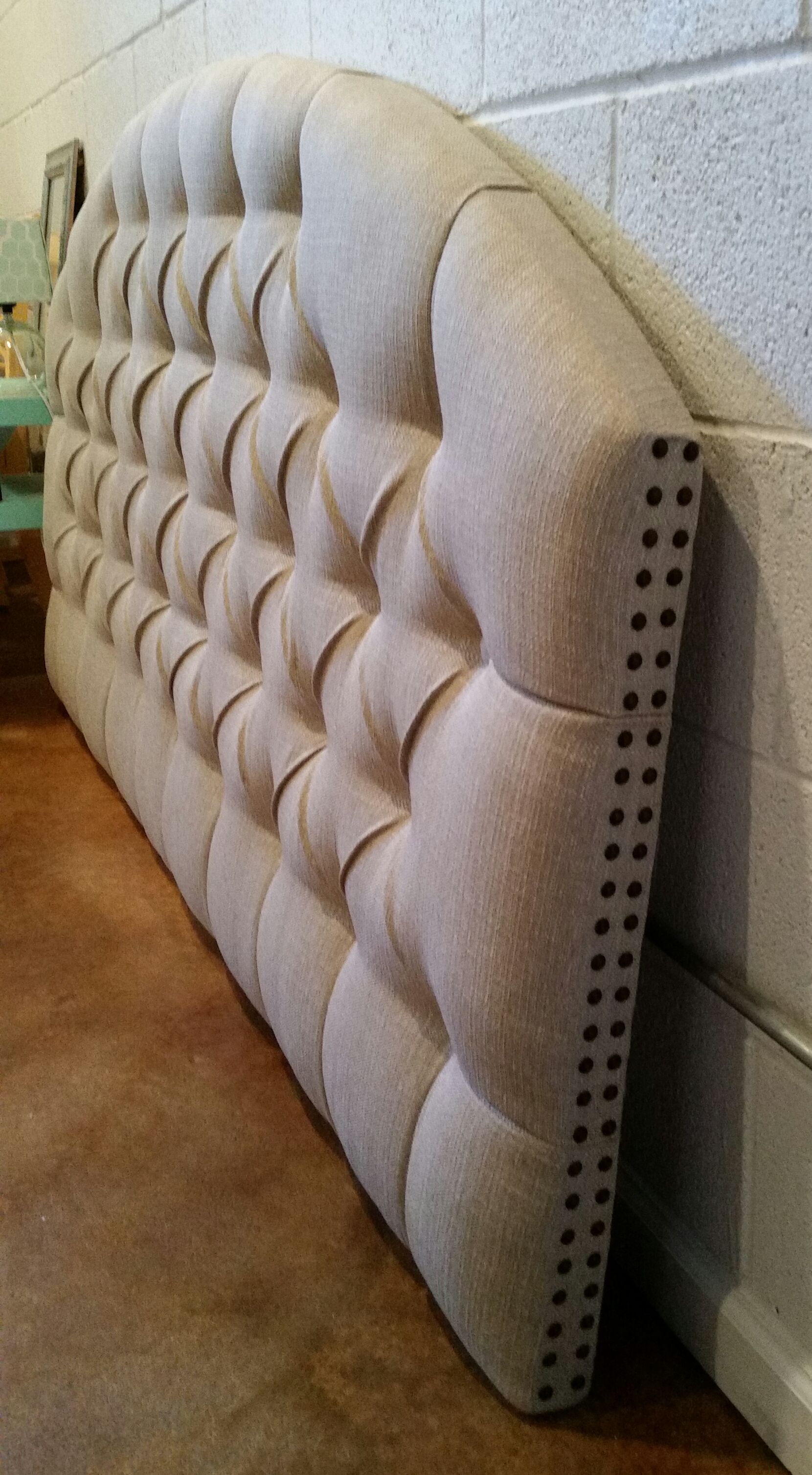 king size wall mounted nail head trim neutral tufted