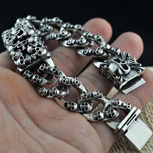 a4adccaef7890 Men's Sterling Silver Skulls Bracelet | Biker Jewelry | Skull ...