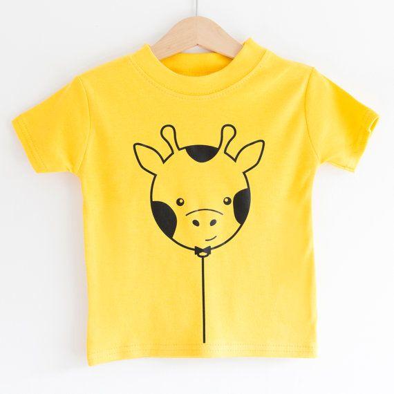 Giraffe Balloon short sleeved childrens t-shirt by MacieDotDoodles