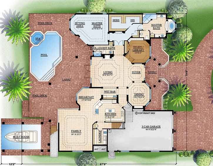Florida Style House Plans 4778 Square Foot Home 2 Story 4 Bedroom And 2 3 Bath 3 Garage Stalls By Monster House Plans House Plans Mediterranean House Plan