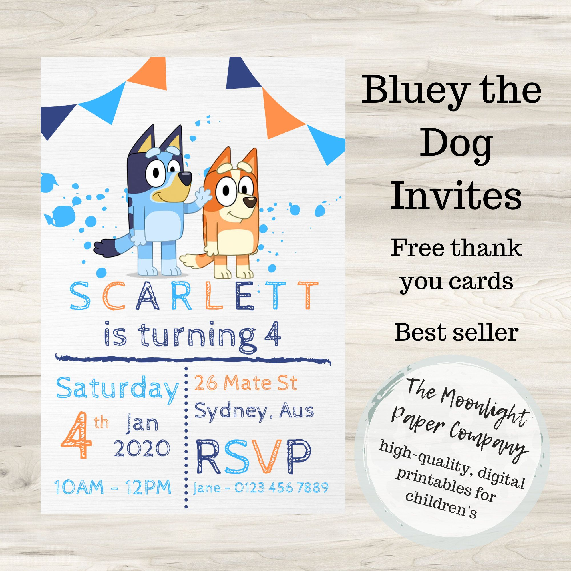 Bluey Birthday Invitation/Invites for Children/Kids