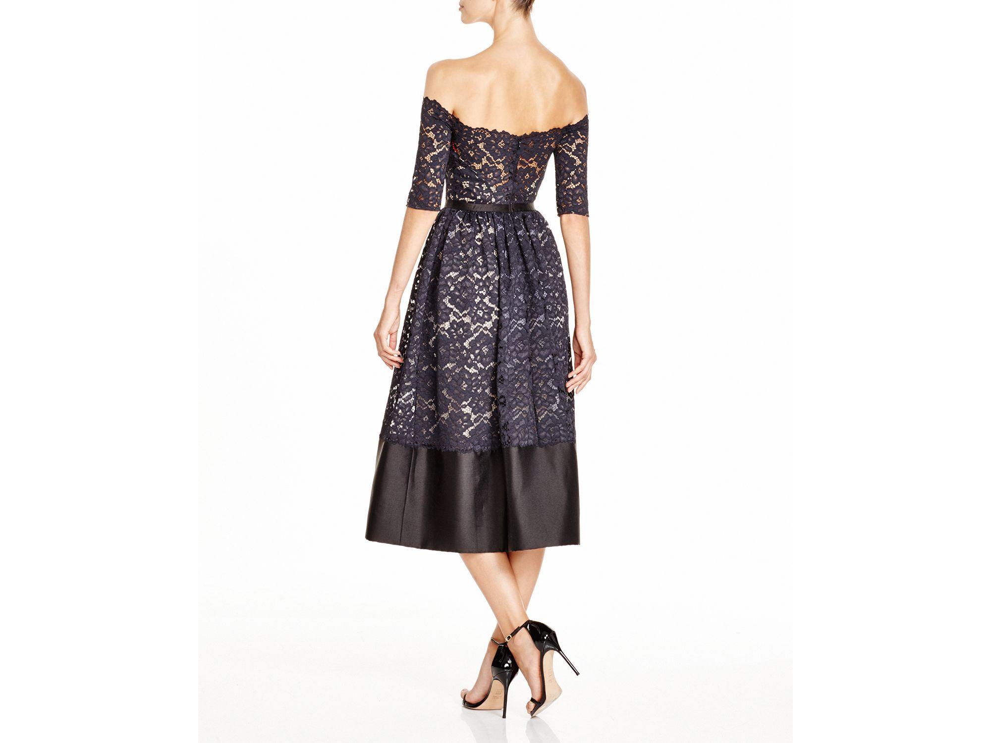 ML Monique Lhuillier Off-The-Shoulder Lace Midi Dress - Google ...