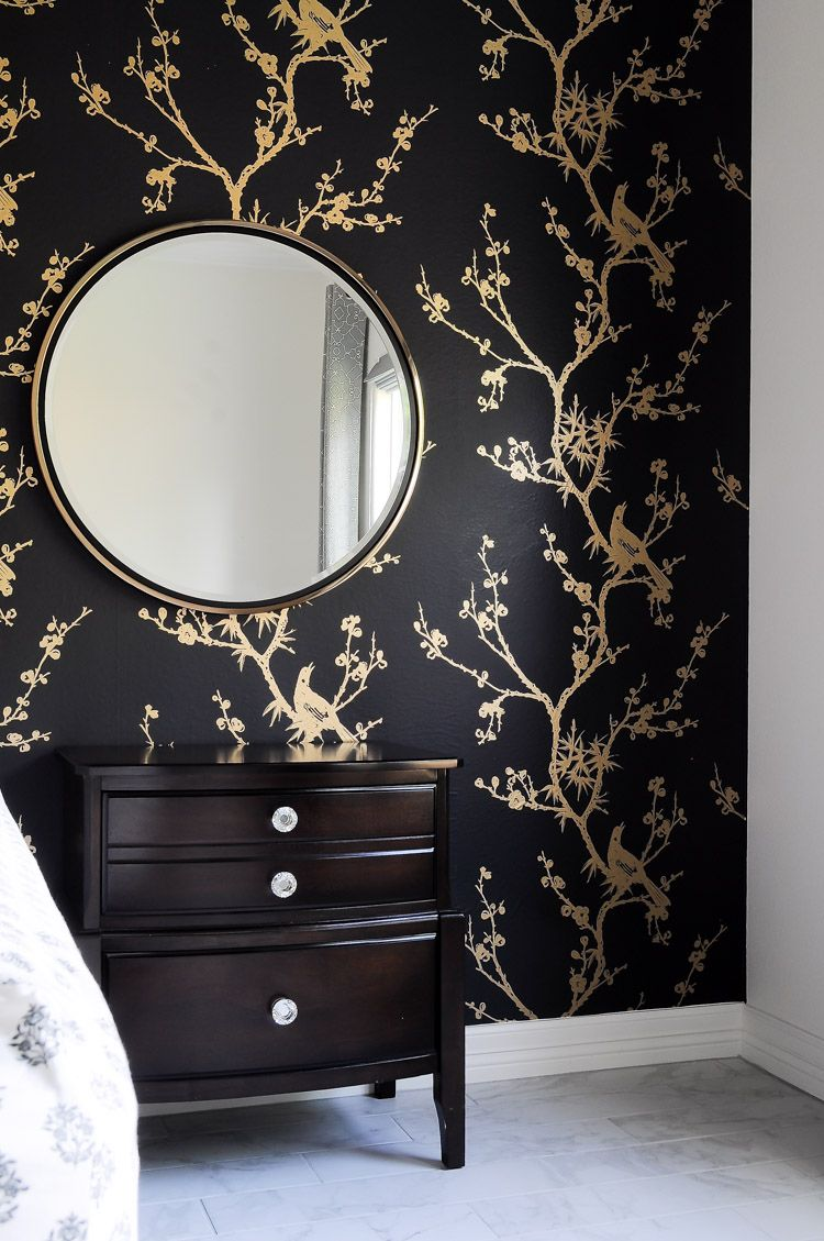 Orc Week 2 Tempaper Bird Watching Black And Gold By Cynthia Rowley Applied To A Bedroom Foca Black Walls Bedroom Black Wallpaper Bedroom Black Gold Bedroom
