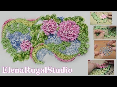 How to Crochet Irish Lace Tutorial 8 Part 1 of 2 Merenda Renda Irlandia