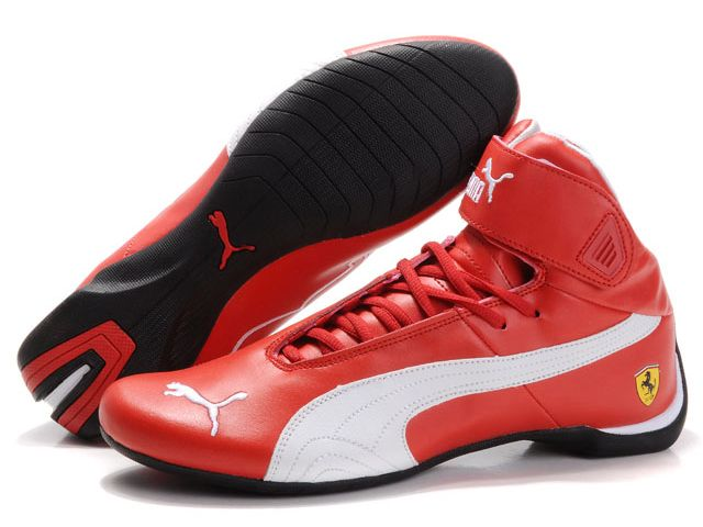 Cheap Puma Ferrari High Top Red White Shoes  5b40e019e
