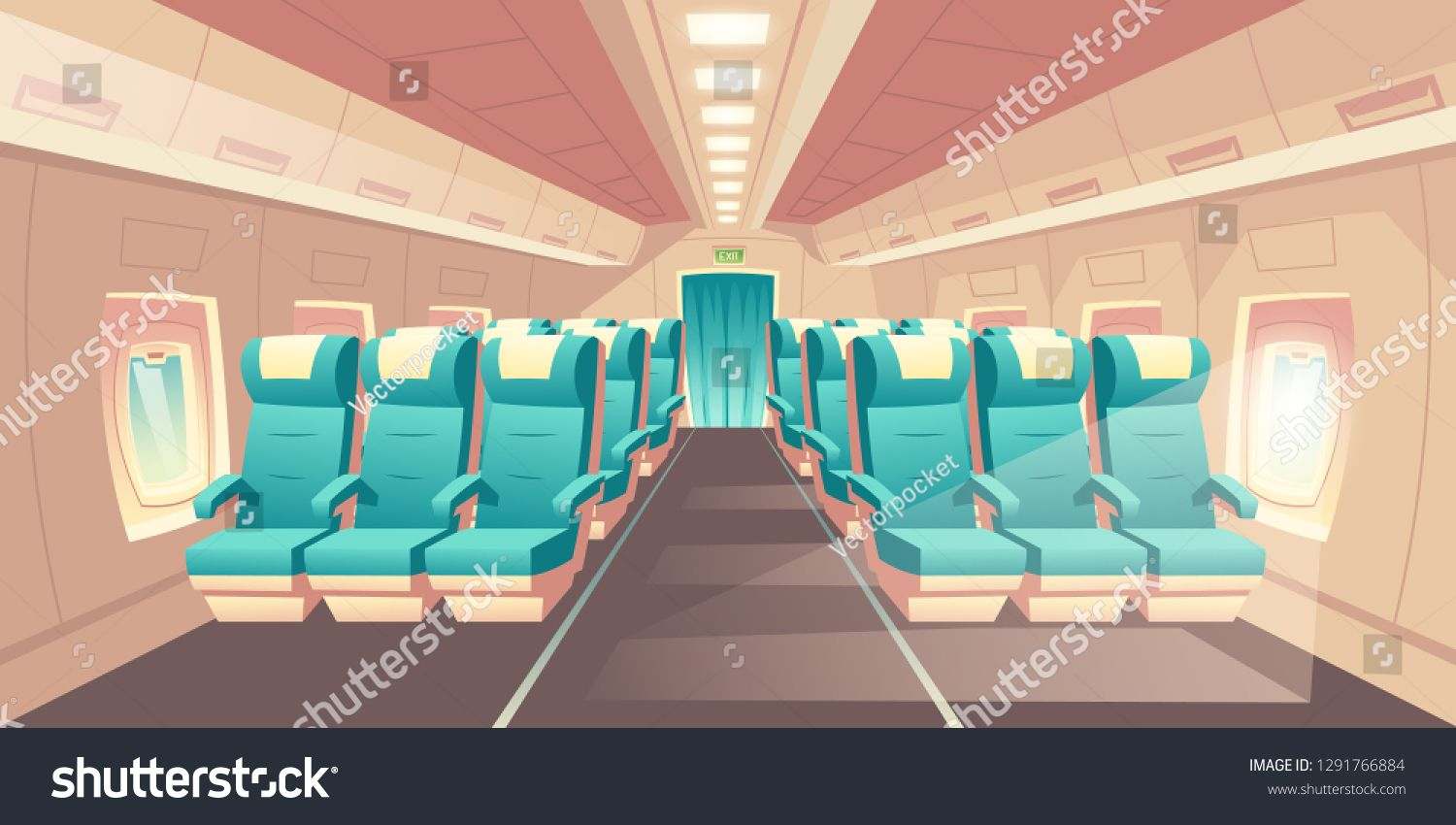 Vector Illustration With A Cabin Of A Plane Econom Class Seats With Blue Chairs Bright Salon With Aviation Careers Blue Chair Air Hostess Training Institute