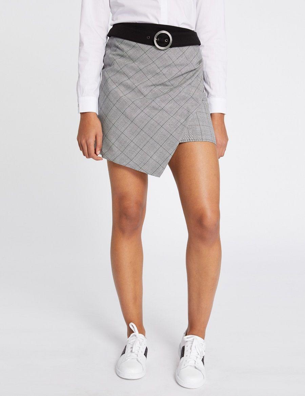 Mini-jupe croisée à carreaux Morgan - Jupe Morgan - Ventes-pas-cher ... 56eddcadf88