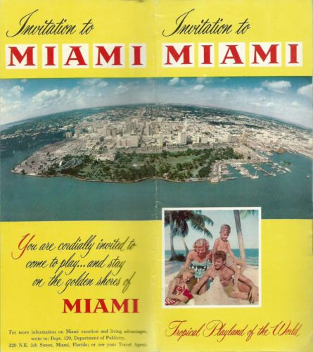 Miami Florida Vintage 1950u0027s 1960u0027s Folded Brochure Color Photos - folded brochure