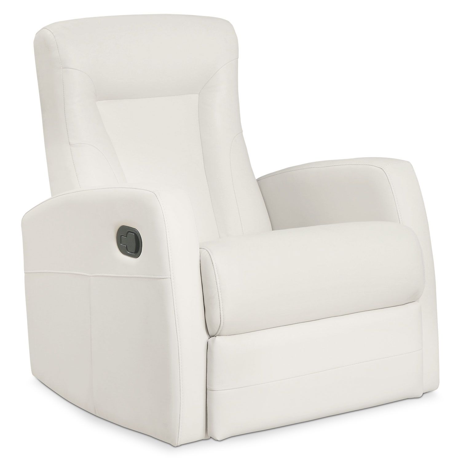 Living Room Furniture   Molly Bonded Leather Swivel Recliner   Ivory $519  The Brick