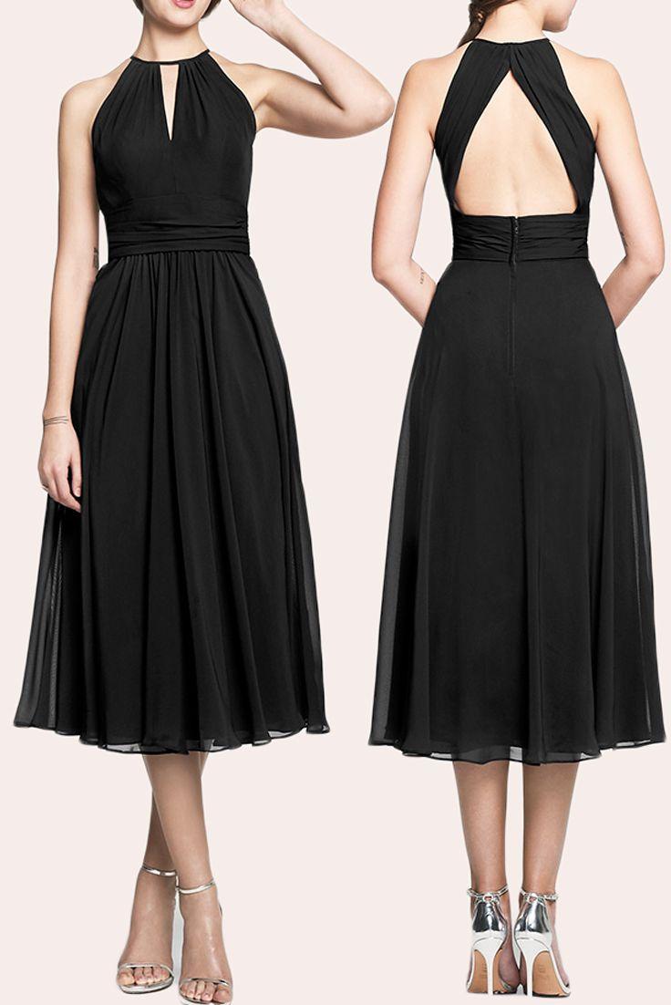 Halter Tea Length Chiffon Bridesmaid Dress Little Black