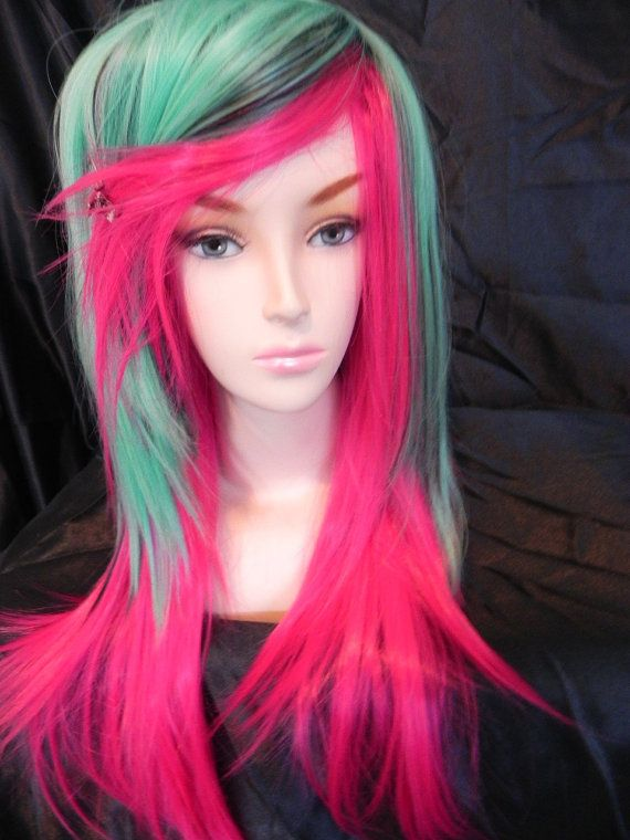 ON SALE Neon Hot Pink / Long Straight Layered Wig by