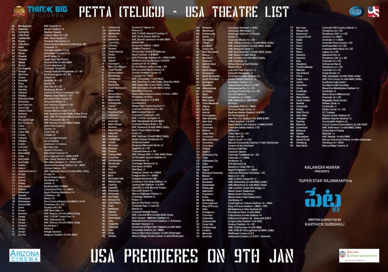 Petta Telugu Usa Theaters List Social News Xyz Gallery Telugu