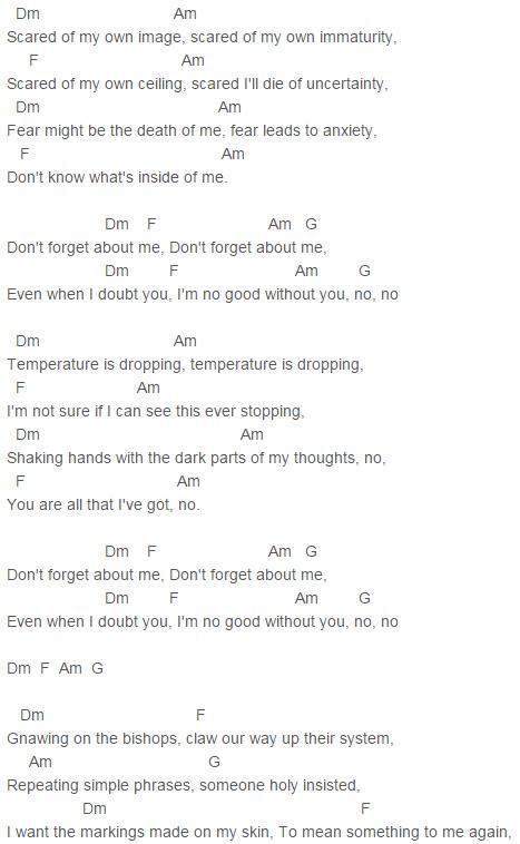 Twenty One Pilots Doubt Chords Lyrics For Guitar Ukulele Piano
