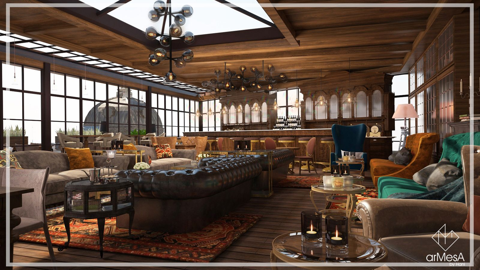 Rooftop Café Restaurant Vishap Interior Design In Yerevan