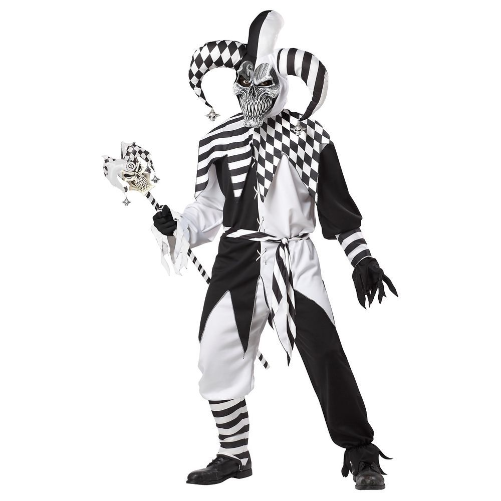 Nobody's Fool Evil Jester Costume Adult Mens Scary Halloween ...
