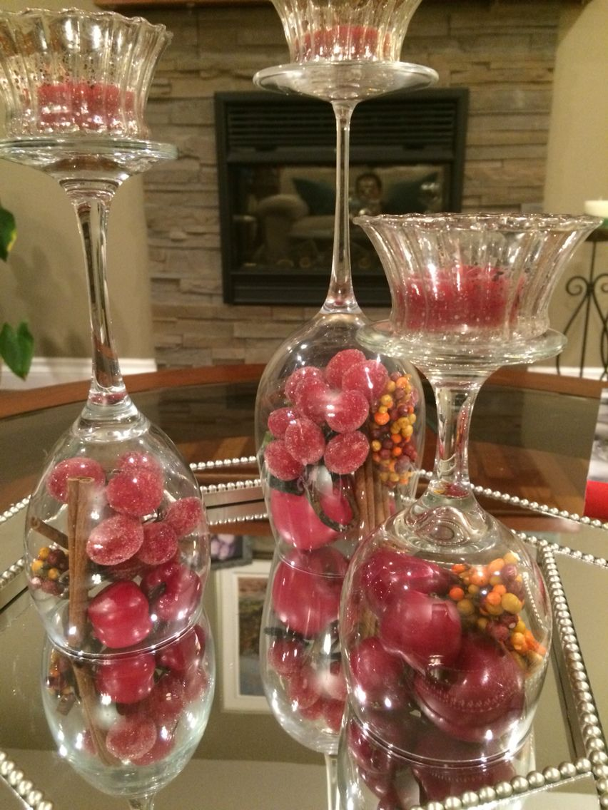 On My Coffee Table It Changes With The Seasons Wine Glass Crafts Glass Crafts Christmas Table Settings