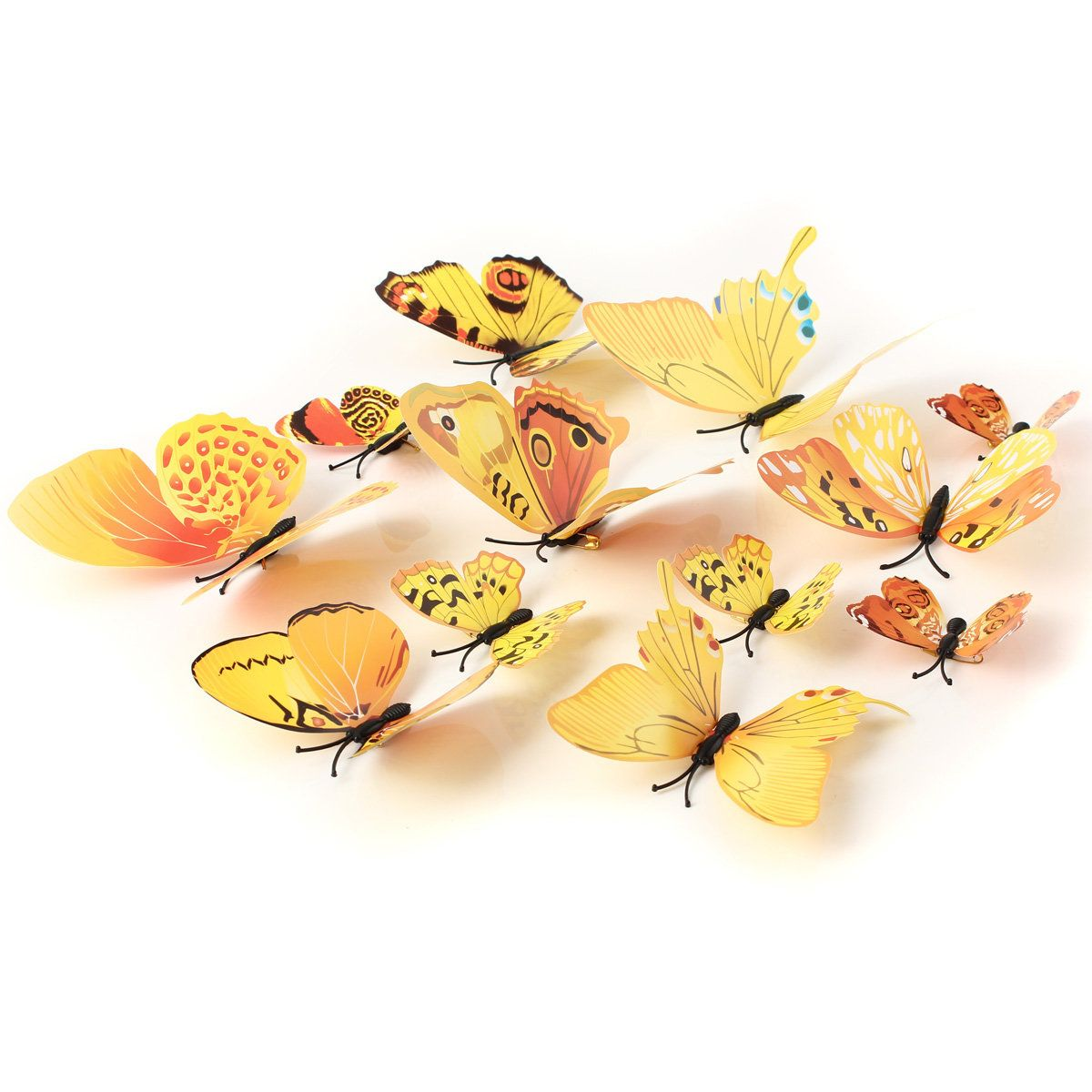 3D Yellow Butterfly Art Decals Wall Stickers Home Wedding Party ...