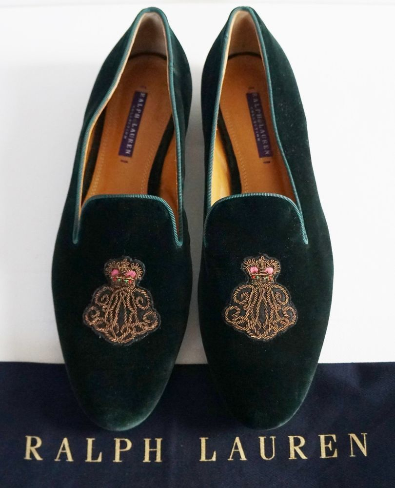 c077b8382 $550 RALPH LAUREN COLLECTION QUINTESSA CREST Embroidered Velvet Loafer Shoes  10B #RalphLaurenCollection #Loafers #CasualFormalPartySpecialOccasion