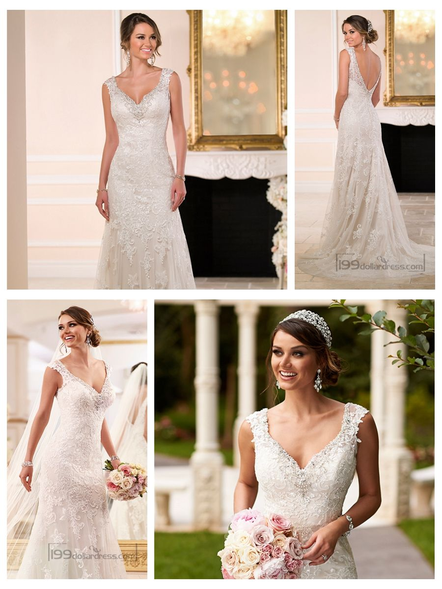 Diamante adorn sweetheart straps lace wedding dresses with vback