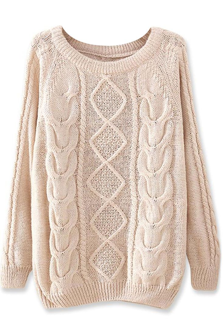 Warm Diamond Cable Sweater - OASAP.com | Cable sweater, Cable and Taps