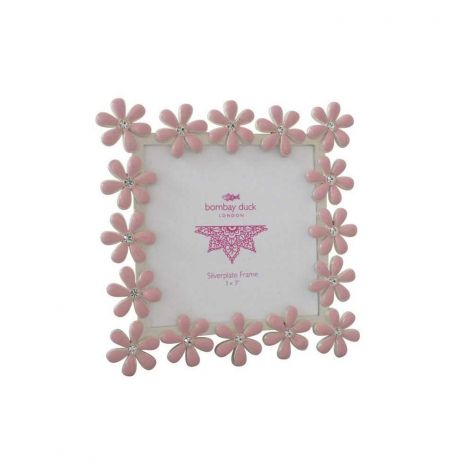 Anais Flowers Enamel Frame Square 3x3 Quot Dusty Pink