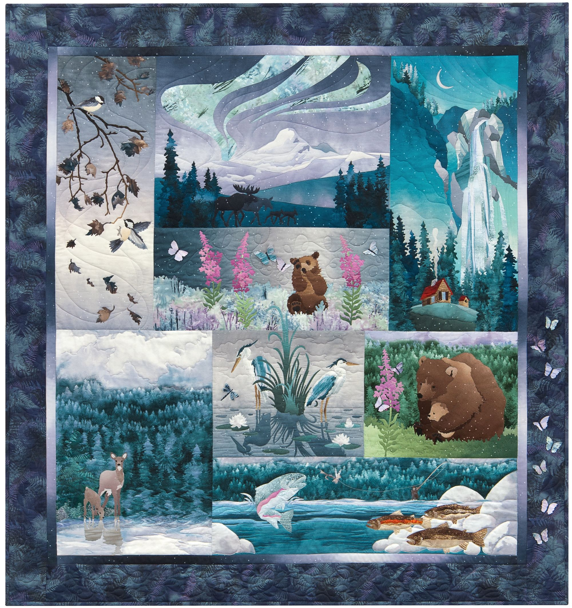 Aurora Ridge Complete Pattern Set Wildlife Quilts Landscape Quilts Animal Quilts