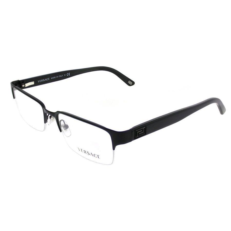6adaa3c7555 Versace VE 1184 1261 Matte Black Metal Rectangle Eyeglasses 53mm  725125715010 eBay Matte Black Metal