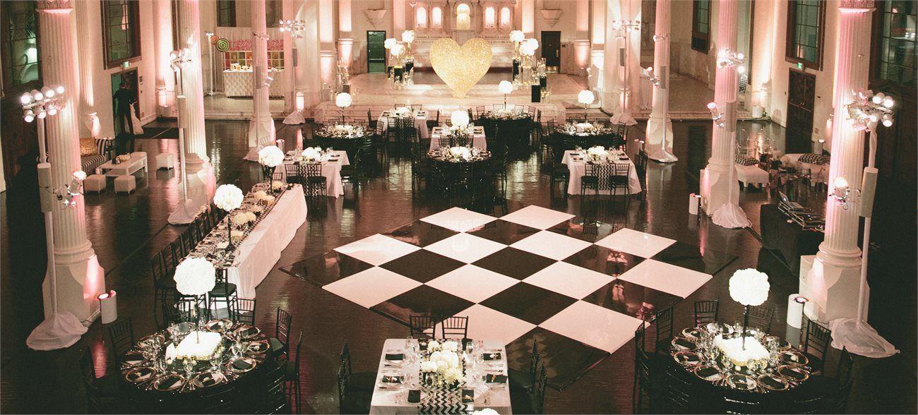Vibiana Wedding Reception With Black White Checkered Dance Floor