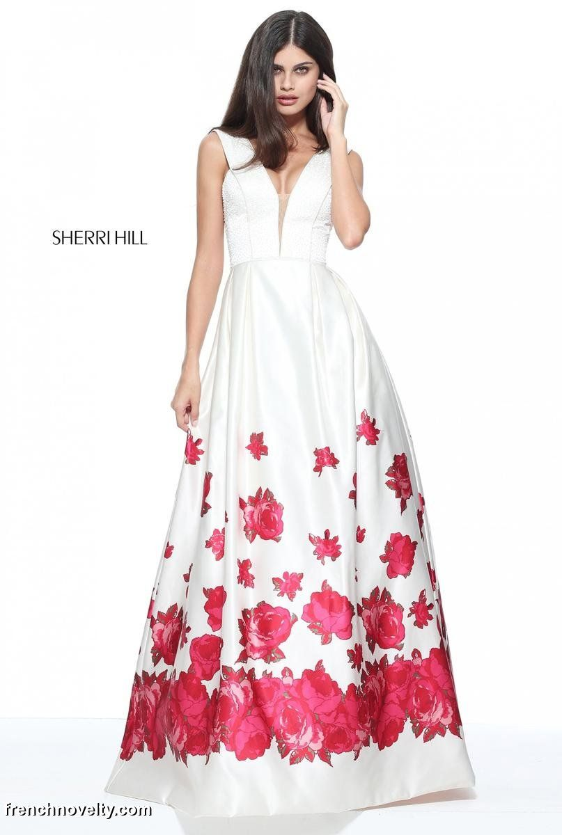 Sherri Hill 51105 is a sleeveless satin ball gown with a deep-v neckline and