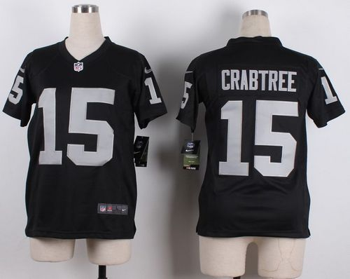 Nike Raiders #15 Michael Crabtree Black Team Color Youth Stitched ...