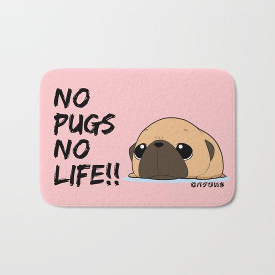 Pug Rag Fawna Bath Mat Pugs Pug Gifts Rag