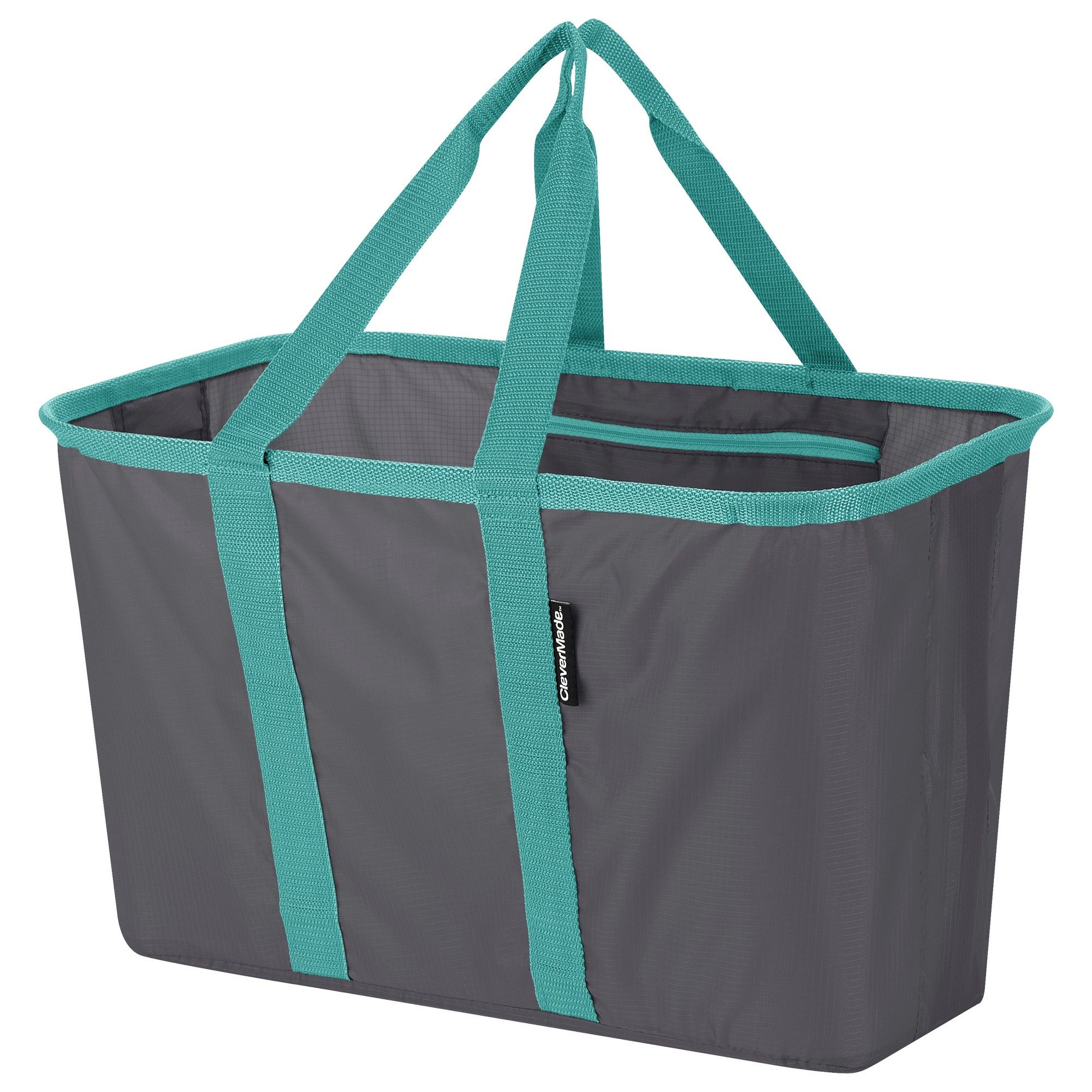 Clevermade Snapbasket 30l Collapsible Tote Charcoal Teal Gray