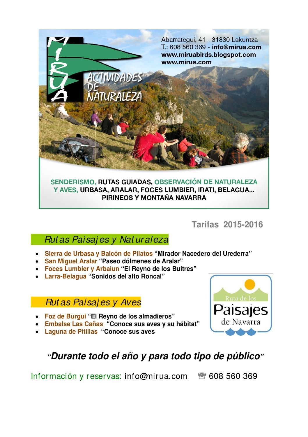 Rutas Paisajes de Navarra, con Guía de Naturaleza. Mirua Actividades ...