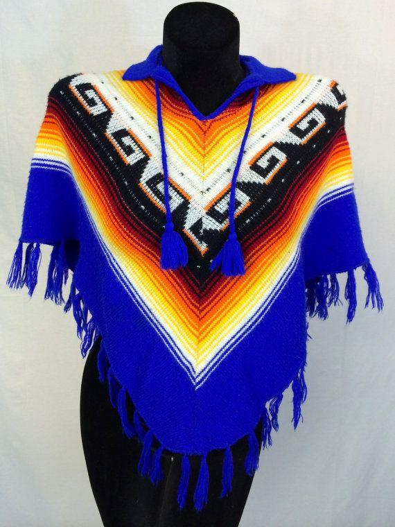 Vintage Multicolored Fringe Poncho by InTheRoughFashion on Etsy