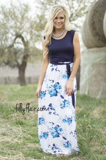 Stop and Stare maxi in Navy - Dresses