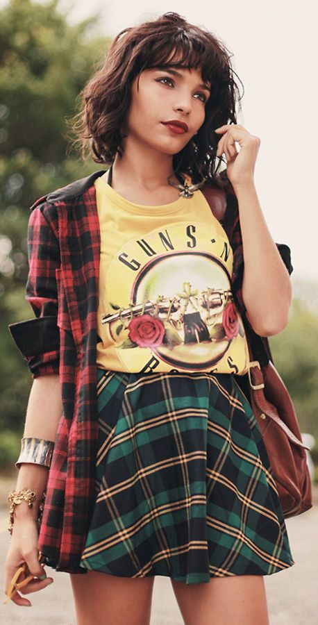 eba9dc8ad Green Plaid Check Skater Skirt | Guns and Rose's | Moda, Ropa, Moda ...