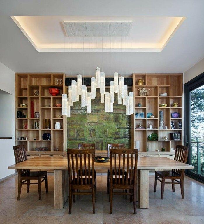 kronleuchter modern esszimmer beleuchten abgehängte decke - esszimmer einrichtungsideen modern