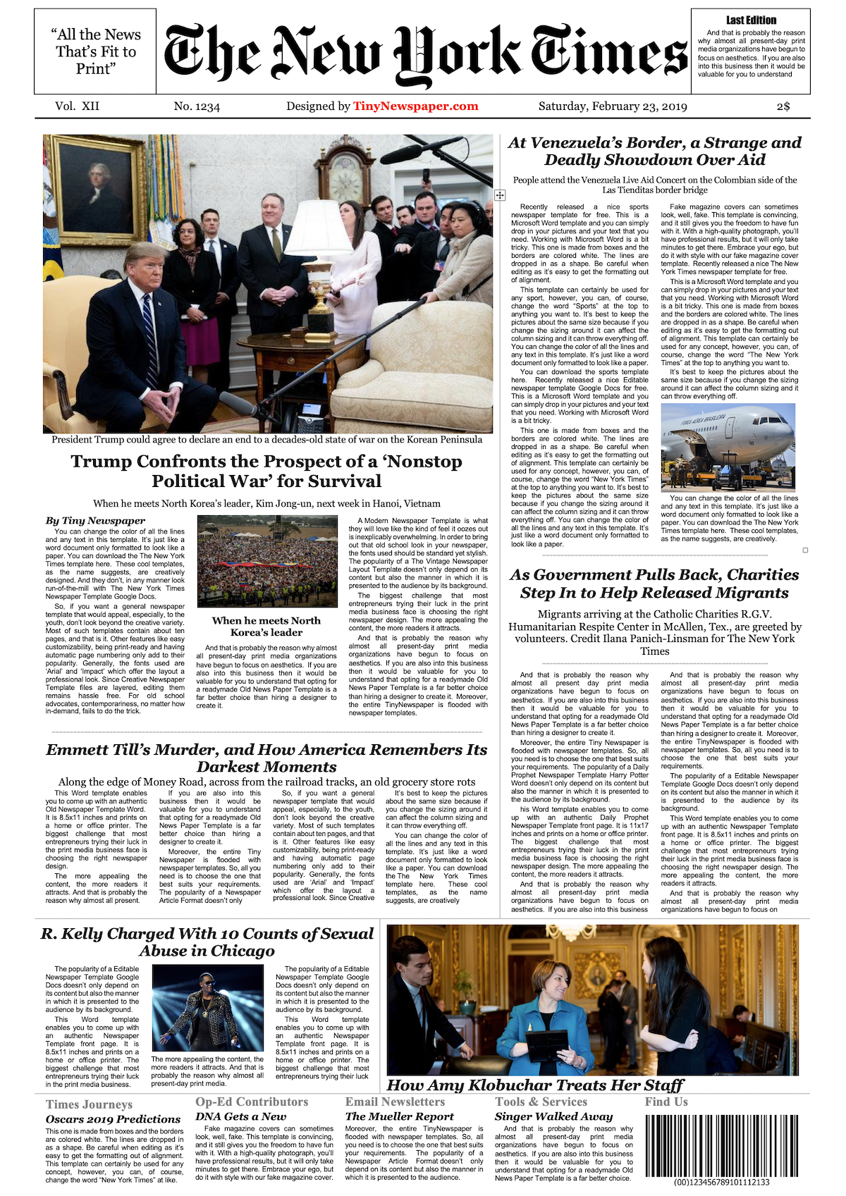 New York Times Tabloid Template Google Docs | Newspaper Google Docs