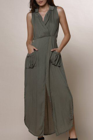 Stylish Army Green Sleeveless V Neck Split Pockets Women's Dress Summer Dresses | RoseGal.com