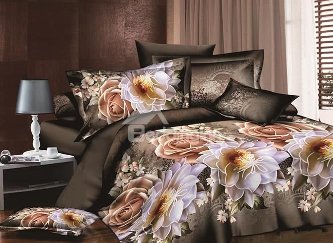 Vintage Style Rose And Peony Print 4 Piece Duvet Cover Sets 3d