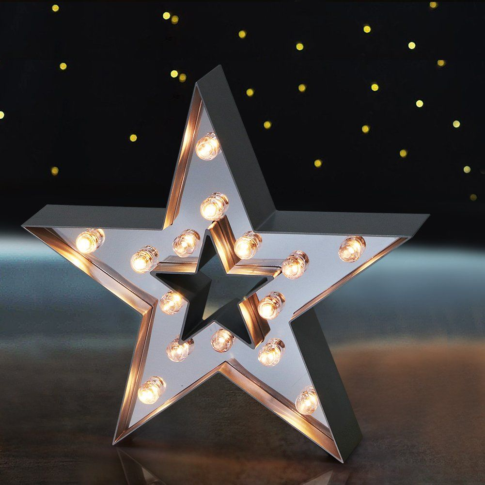 Bright Zeal 13 Large Led Star Marquee Sign Mirror Imbedded 6hr Timer Light Up Sign Wall Decor Home Decoration Party Lights Decoration Marquee Sign Wall Signs