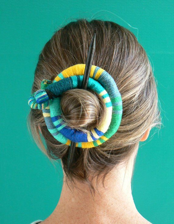 Items similar to Large Hair barrette, Funky Hair stick, Shawl pin brooch, Flexible bun wrap, Bun hair style, Colorful fascinator, Hair Snake pin clip Green on Etsy