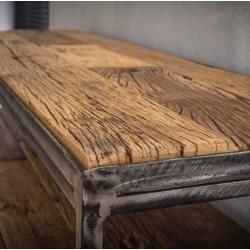 Flur Konsolentisch aus Recyclingholz und Stahl 110 cm breit Rodario