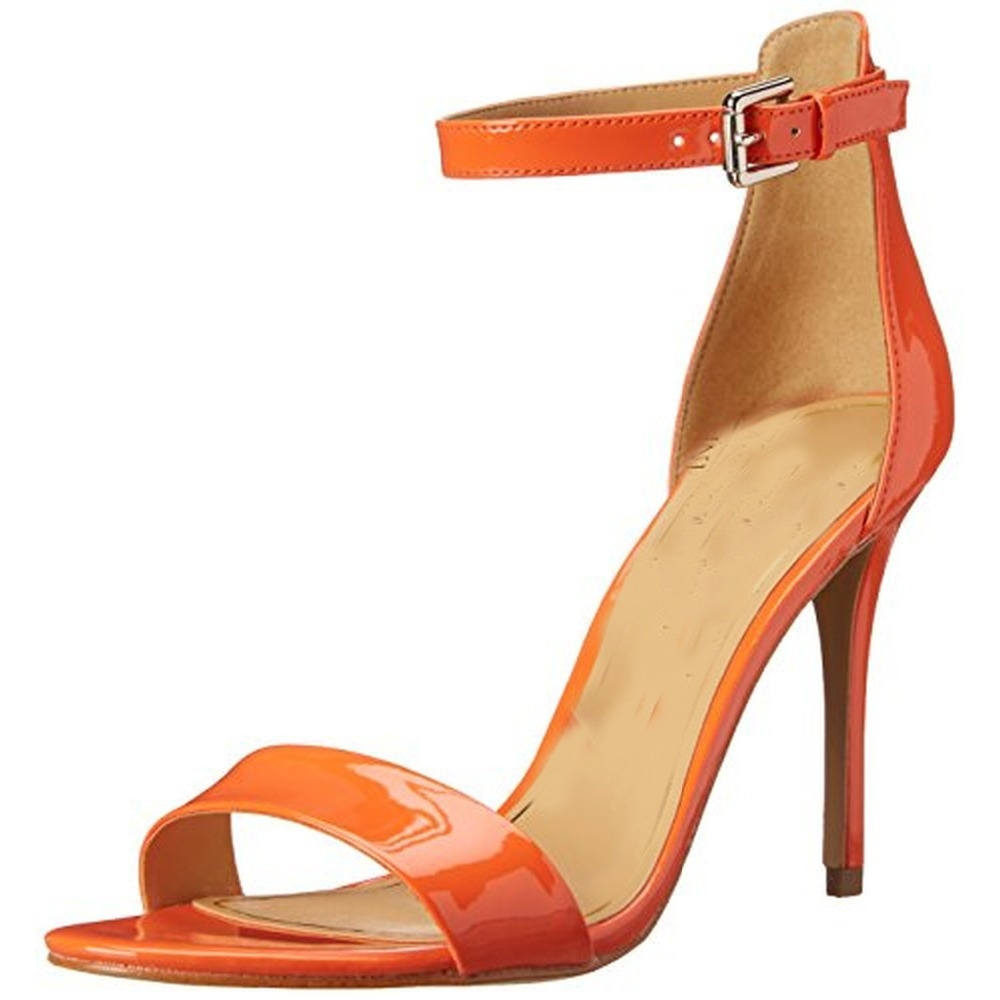 59.00$  Watch here - http://aliae3.worldwells.pw/go.php?t=32431534819 - Cover Heels Open Toe Summer Style 2015 Woman Sandals Thin High Heels Orange Sparkling Handmade Shoes Female Ankle-Wrap Buckle