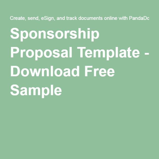 Sponsorship Proposal Template  Download Free Sample  Ideas For