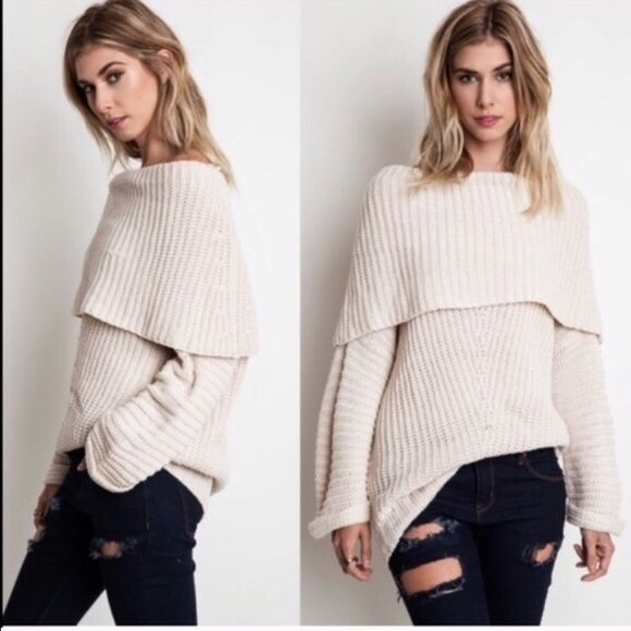 Cotton Blend Off Shoulder Sweater cream Boutique | Retail ...