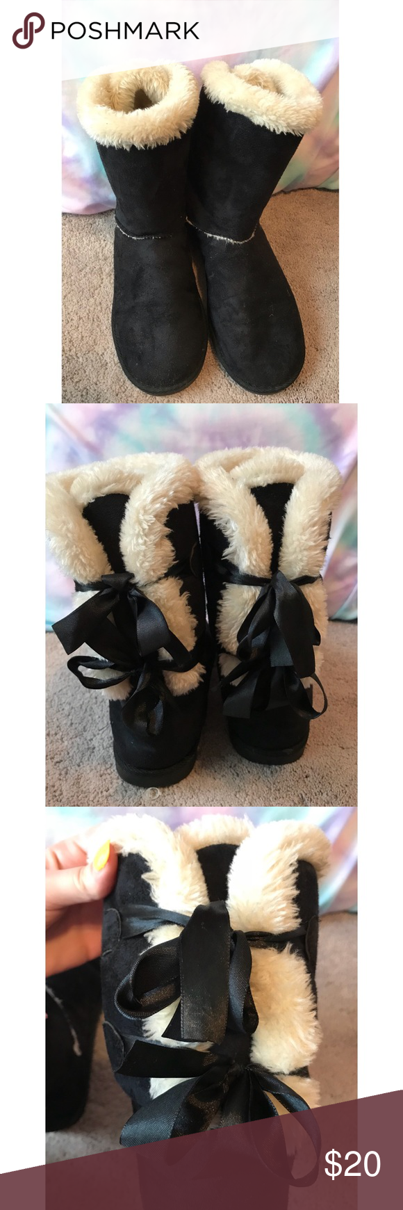 c130fc8b3fc Fuzzy Black Lace Up Boots Super cute black boots with fuzzy and soft ...