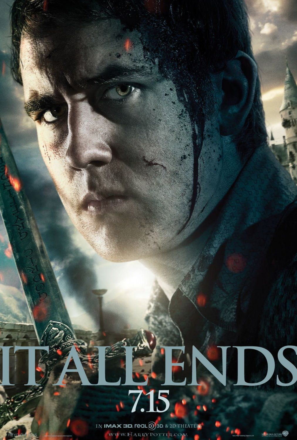 Harry Potter And The Deathly Hallows Part 2 It All Ends Here Neville Poster Design B Harry Potter Neville Harry Potter Movie Posters Harry Potter Poster