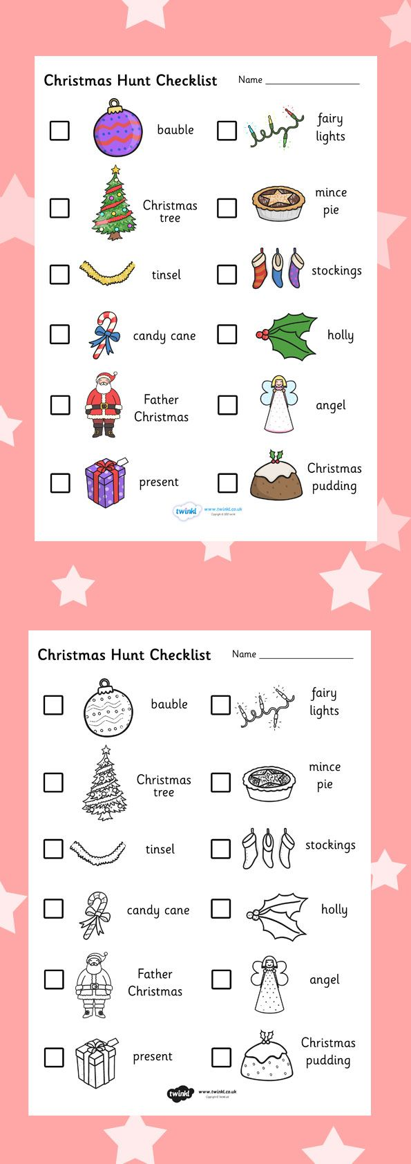 Christmas colouring in sheets twinkl - Twinkl Resources Christmas Hunt Checklist Printable Resources For Primary Eyfs