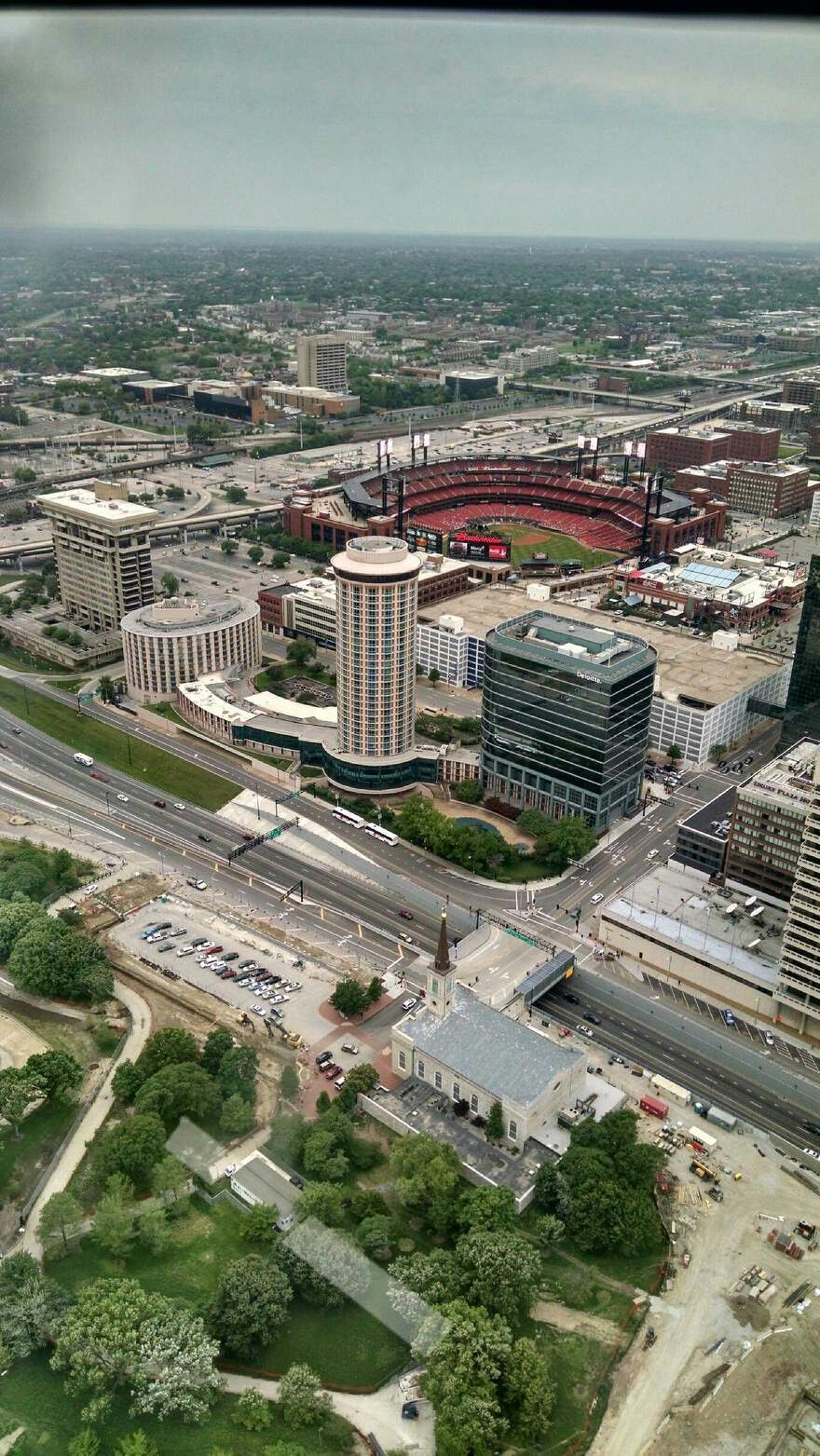 Busch Stadium seen from the Arch